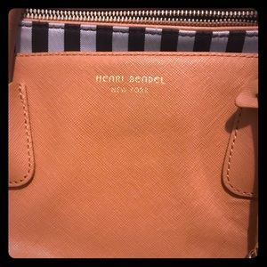 Henri Bendel Miss Brown & White Stripe Leather Bag